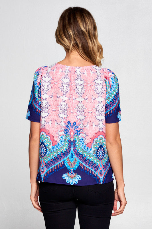 MULTI COLOR PAISLEY TOP
