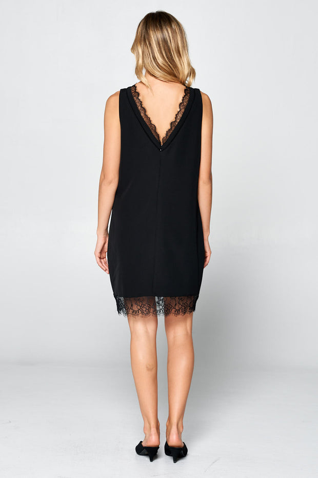 SLEEVELESS MID LENGTH DRESS WITH LACE DETAIL