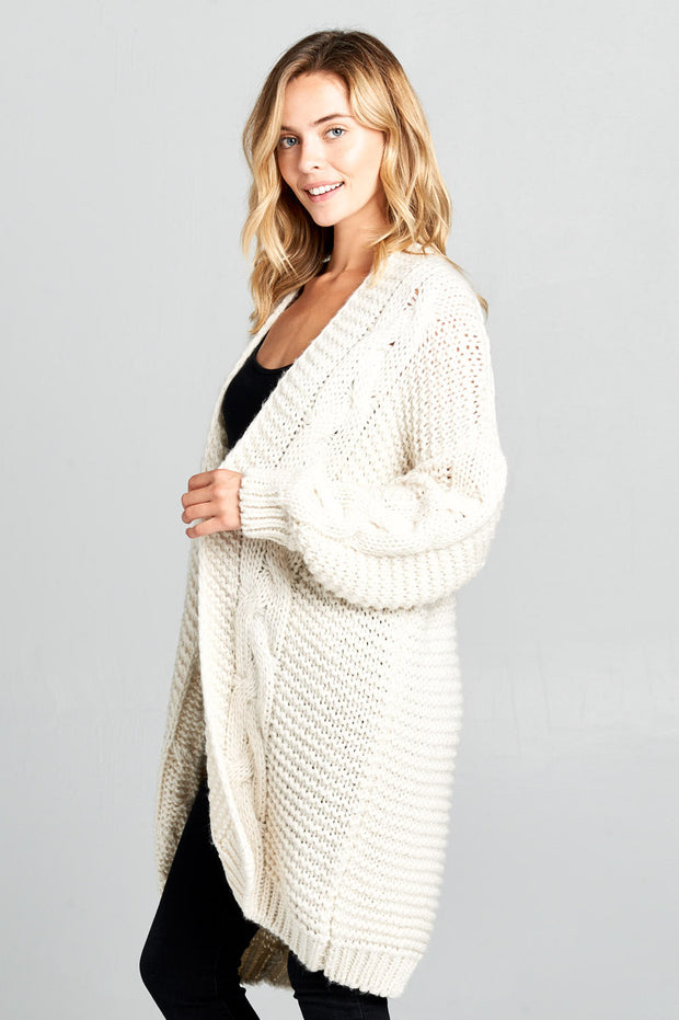 KNIT LONG CARDIGAN WITH FRONT POCKETS