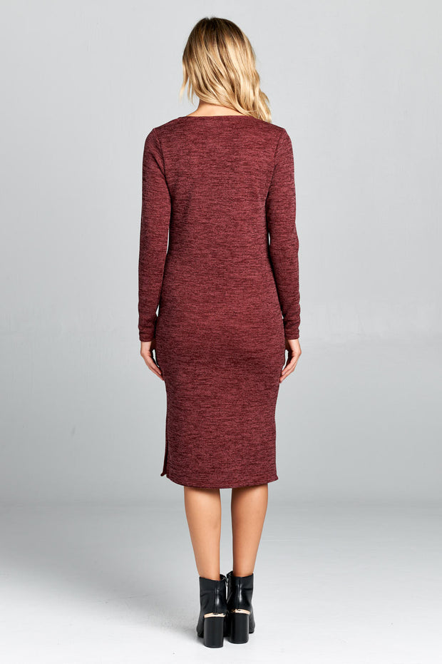 LONG SLEEVE TEA-LENGTH DRESS