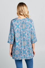 3/4 SLEEVE PRINT V-NECK TUNIC