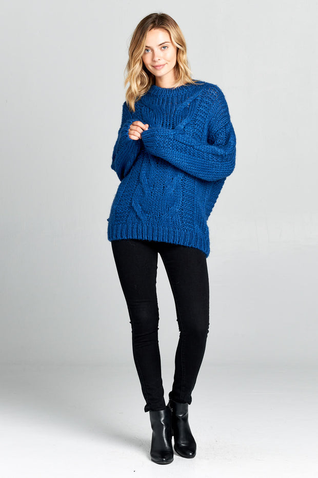 LONG SLEEVE KNIT SWEATER WITH BRAID DETAIL