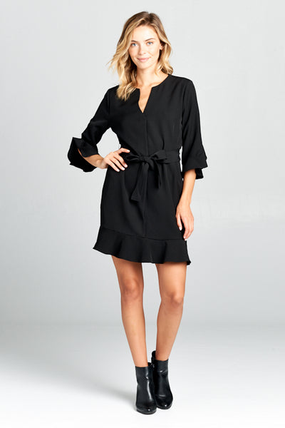 BELL SLEEVE WAIST TIE DRESS WITH NOTCH NECK