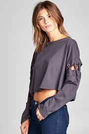 CHARCOAL LONG SLEEVE TOP WITH OPEN SLEEVES