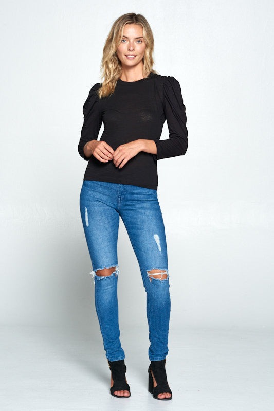SOLID SCOOP NECK PUFF SLEEVE TOP