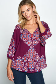 PLUM PAISLEY PRINT V-NECK 3/4 SLEEVE TOP