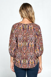 MULTI COLOR PAISLEY PRINT TOP