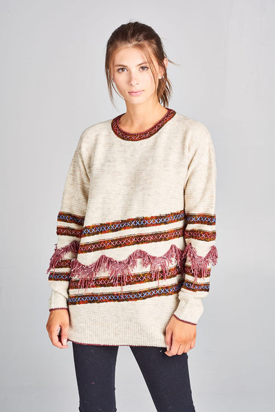 MULTI COLOR KNIT SWEATER WITH FRINGE DETAIL