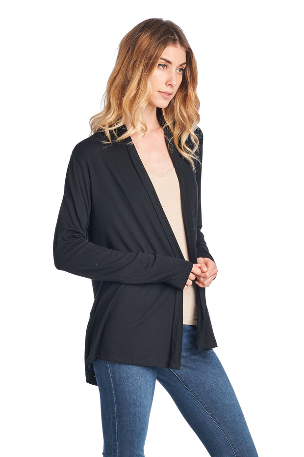 BAMBOO LONG SLEEVE OPEN FRONT CARDIGAN