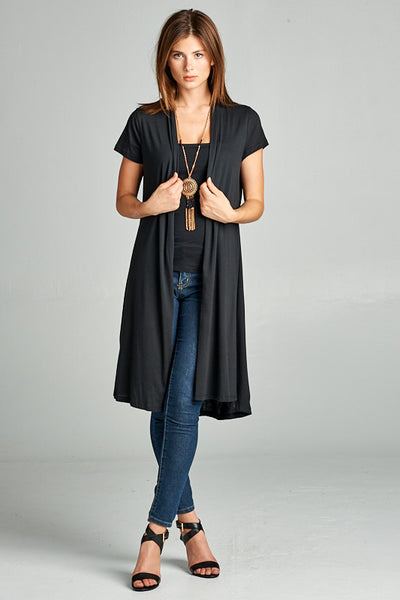 SOLID SHORT SLEEVE LONG CARDIGAN