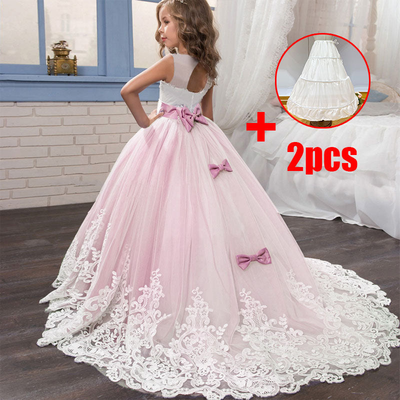 2019 Girls Summer Dress Long Ball Gown Evening Dress Kids Dresses Girls Children Prom Princess Party Wedding Dress 10 12 Years