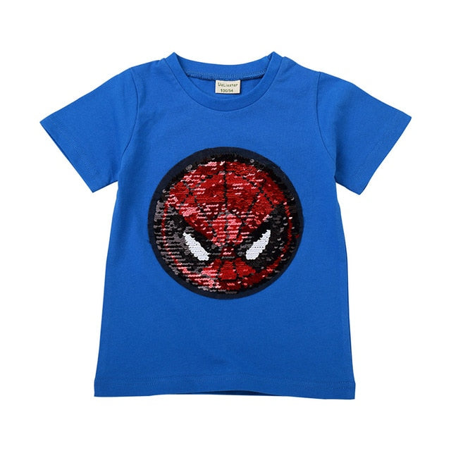 New Fashion Sequin Baby Boys Girls T-Shirt For Summer Children T-Shirts Kids Cotton Casual Clothing Shirts Boy Girl Tops Tee