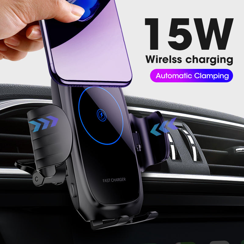 15W Car Qi Wireless Charger For iPhone induction usb mount Automatic Clamping Fast Wirless Charging For iphone 11 Samsung SIKAI