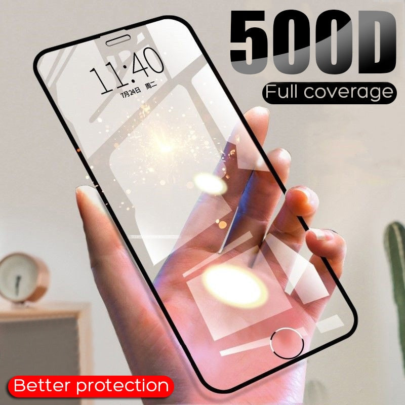 500D Full Cover Tempered Glass For iPhone 7 8 6 6s Plus X XR XS Max Screen Protector For iPhone 11 Pro Max Protective Glass