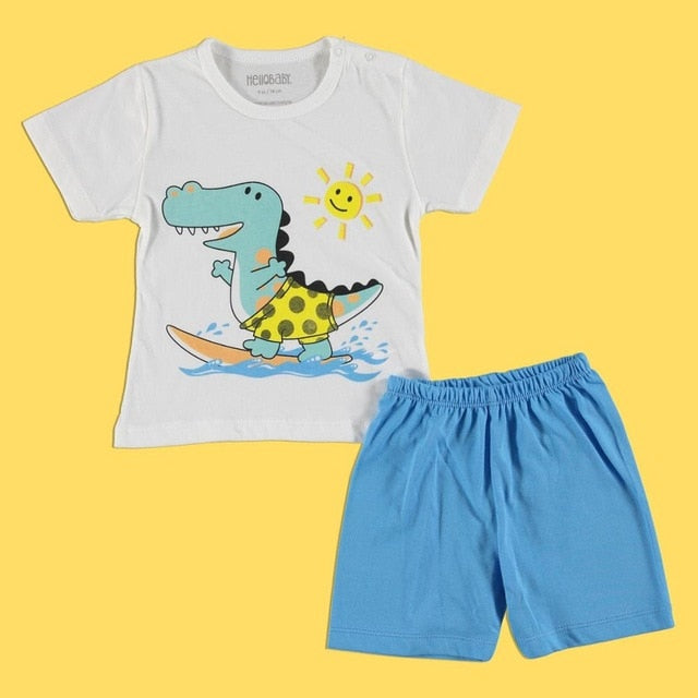 ebebek HelloBaby Short Sleeve Pyjamas Set O-Neck Summer Daily Cotton Cartoon Printed Short Sleeve Regular Baby Clothing Shorts
