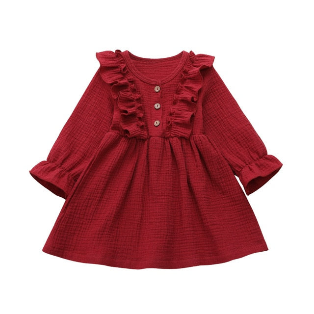 1-6Y Toddler Kids Baby Girl Autumn Dress Ruffles Long Sleeve Solid Cotton Linen Party Casual Dress Clothes