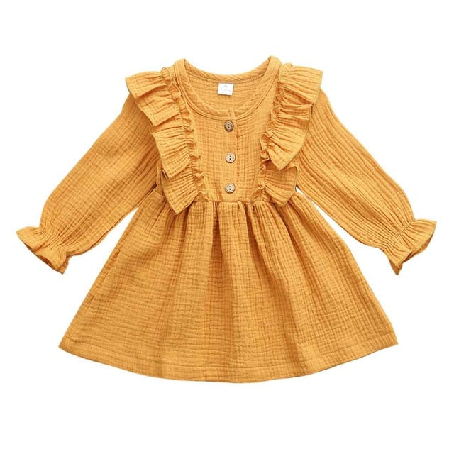 Jurebecia Toddler Baby Girl Long Sleeve Cotton Linen Button Ruffle Solid Dresses Princess Casual Outfit 1-6T