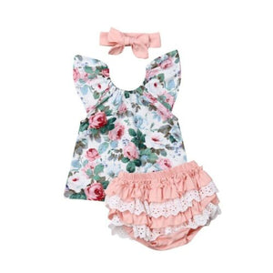 3pcs Baby Floral Printed Fly Sleeve Top Lace Patchwork Ruffle PP Shorts Headband Outfit Toddler Kids Girl Clothing 2019 Summer