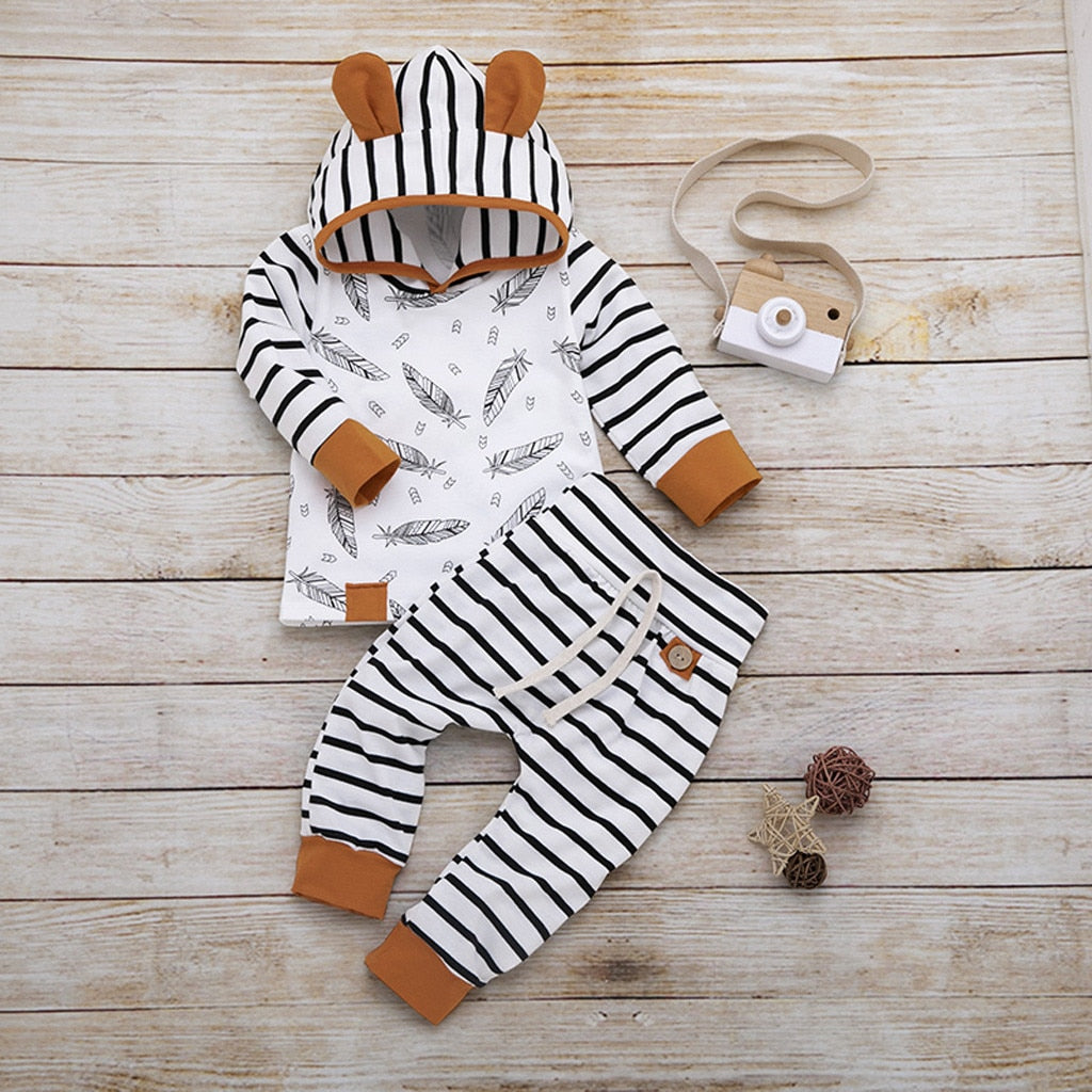 2019 Hot Sale Newborn Baby Boy Girl Feather T Shirt Tops Striped Pants Clothes Outfits Set Dropshipping Baby Clothes *