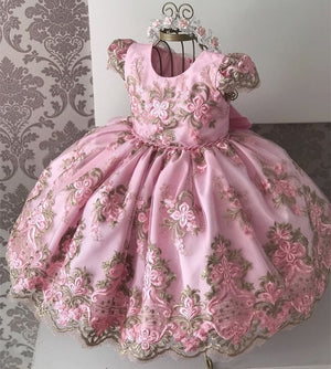 Girls Princess Kids Dresses for Girls Tutu Lace Flower Embroidered Ball Gown Baby Girls Clothes Children Wedding Party Dress