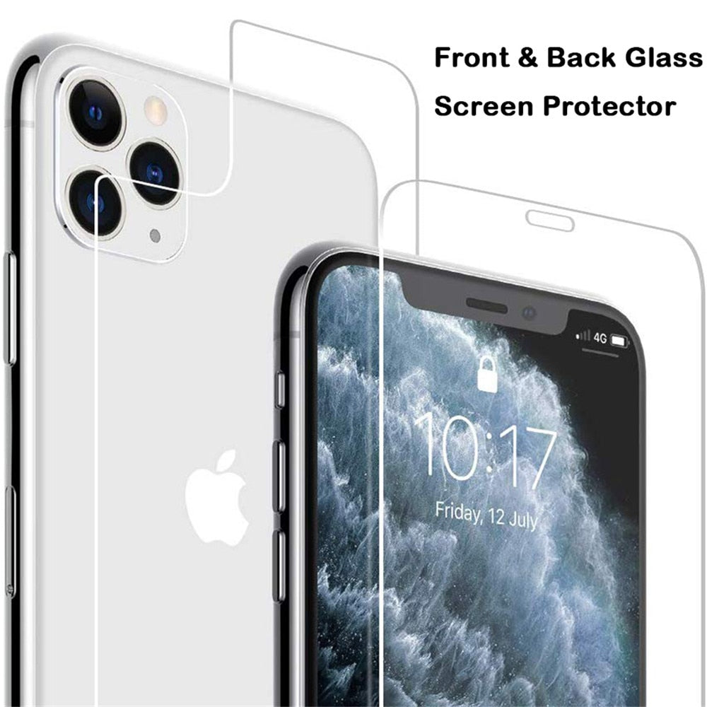 Front Back Full Glass For iphone X XS 11 Pro Max XR 7 8 Screen Protector Tempered Glass on iphone 7 8 6s Plus X 11 Pro Max glass
