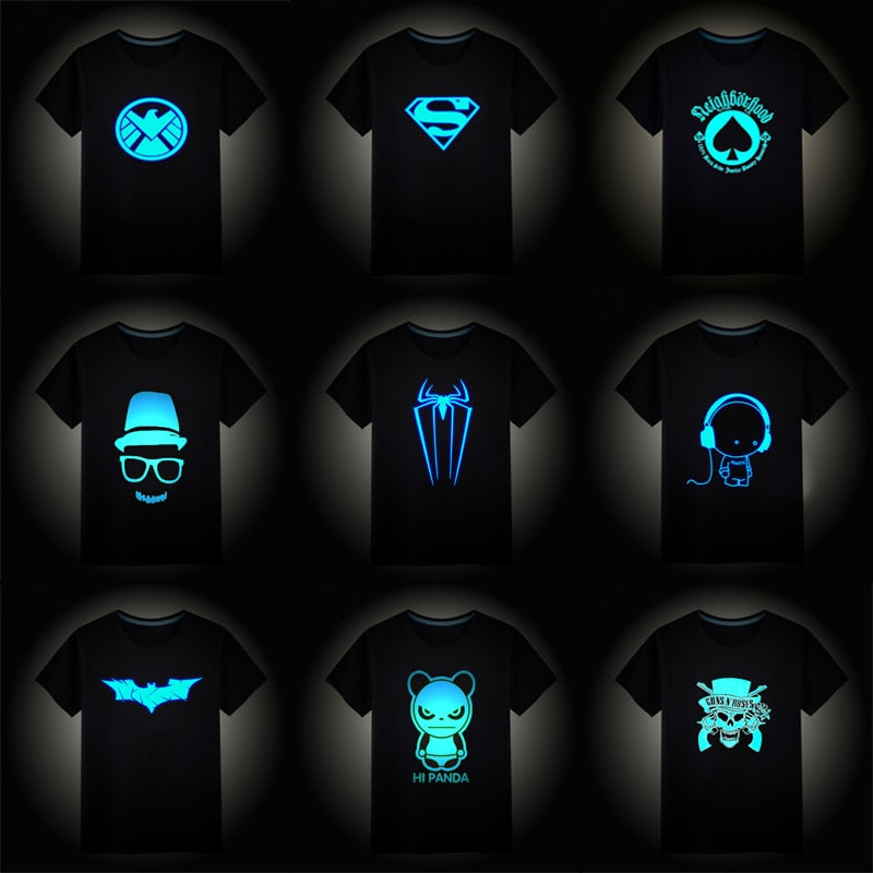2018 Christmas Boys Girls Luminous Short Sleeves T-Shirts Children's Tshirt Superman Batman T Shirt Baby Girl Tops Kids Tees