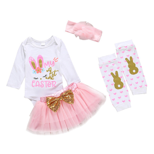 Newborn Baby Girl Spring Clothes Infant Baby Girls My First Easter Day Clothes Rabbit Bunny Romper Bodysuit Skit Set Clothes
