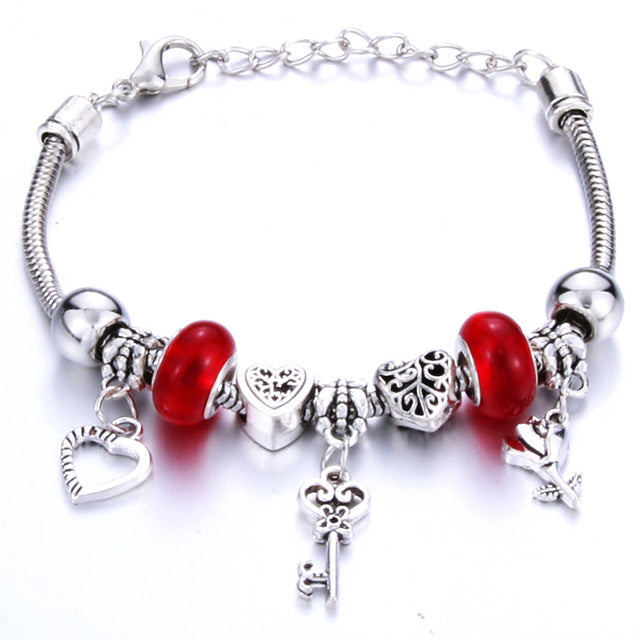 Antique Original Heart-Shaped Key lock Charm Bracelets For Women Glass Beads Brand Bracelet & Bangle DIY Jewelry Gifts