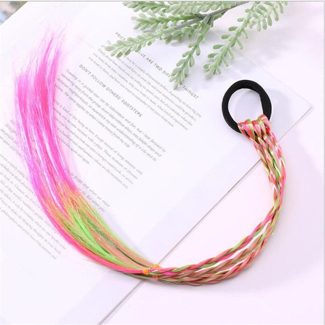 New Girls Colorful Wigs Ponytail Hair Ornament Headbands Rubber Bands Beauty Hair Bands Headwear Kids Hair Accessories Head Band