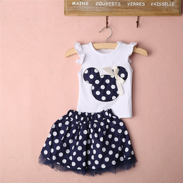 Summer Kids Baby Girl Clothes Minnie Mouse Sets Sleeveless T-shirt Tops Polka Dot Tutu Skirt Clothes