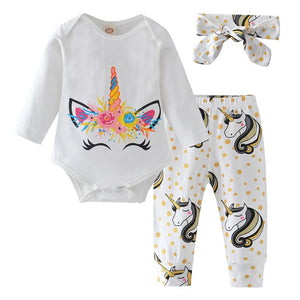 Baby Girl Clothes Newborn Infant Autumn 3Pcs Set Cotton T-shirt Pants Headband fall Outfits Clothes Baby Girls Clothing Suit