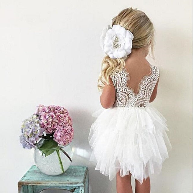 Summer Dresses For Girl 2020 Girls Clothing White Beading Princess Party Dress Elegant Ceremony 4 5 6 Years Teenage Girl Costume