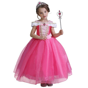 Fantasy Masquerade Role-playing Dress For Girl Anna Elsa Princess Dress Halloween Cosplay Party Gown Rapunzel Sofia Aurora Dress