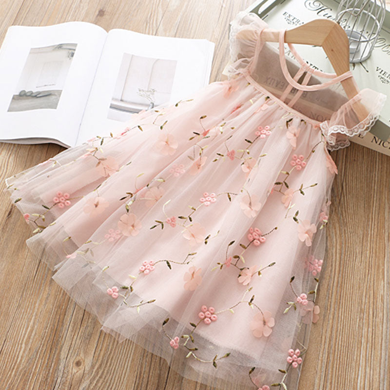 Cute Girls Dress 2020 New Summer Girls Clothes Flower Princess Dress Children Summer Clothes Baby Girls Dress Casual Wear 3 8Y