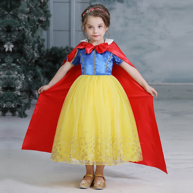 New Girls Belle Princess Dress Cosplay Costume Birthday Party Clothes Children Halloween Long Gown Sofia Cinderella Costume