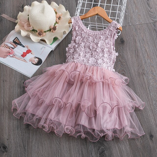 Petals Designs Girl Dress Children Party Costume Kids Formal Events Vestidos Infant Tutu Flower Dress Fluffy Wedding Gown 3 5 7T