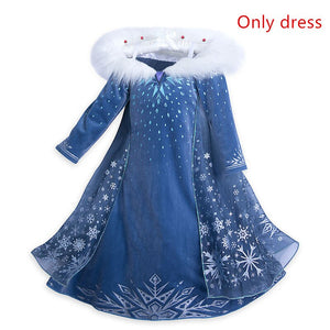 Elsa Dress For Girls Princess Anna Elsa 2 Costumes Party Cosplay Elza Vestidos Hair Accessory Set Children Girls Clothing 4-10ys