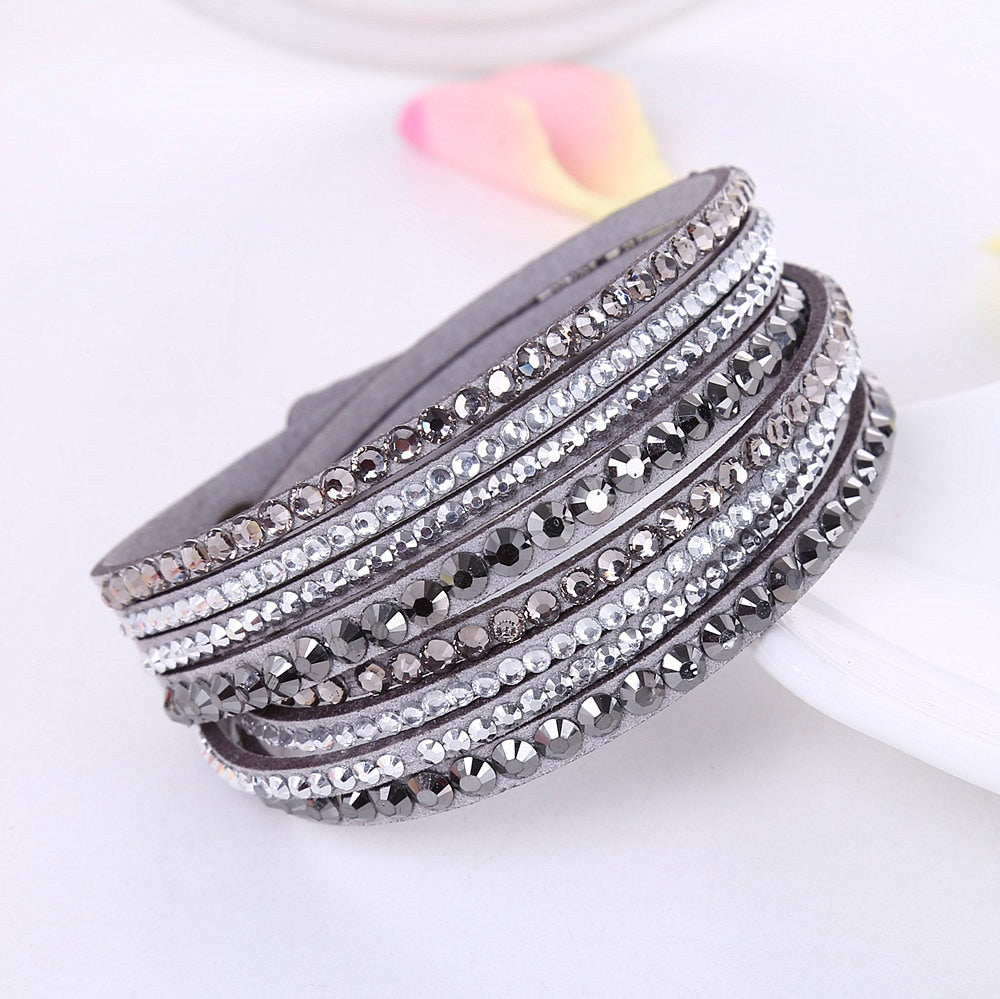 2019 New Leather Bracelet Rhinestone Crystal Bracelet Wrap Multilayer Bracelets for women
