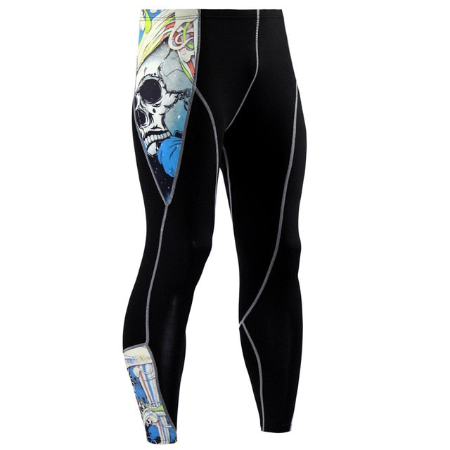 2019 New Fashion Mens Compression Pants 3D Print Quick Dry Skinny  Leggings