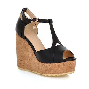 Asumer  women sandals peep toe buckle wedges shoes