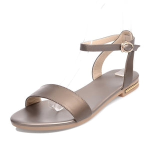 Asumer new high quality genuine leather sandals women shoes ladies solid color flat summer beach shoes