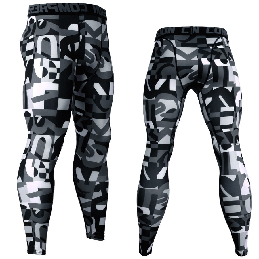 3D Printed Camouflage Joggers Leggings Men Quick Dry Compression Pants