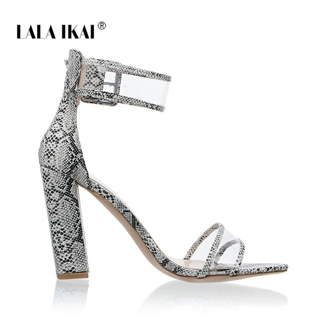 LALA IKAI Woman Sandals Gold Metallic Clear Strap High Heels Fashion Transparent Summer Shoes