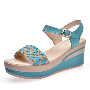 O16U Female Sandals Shoes Wedge Platform Leather Ladies Buckle Sandals High Heels