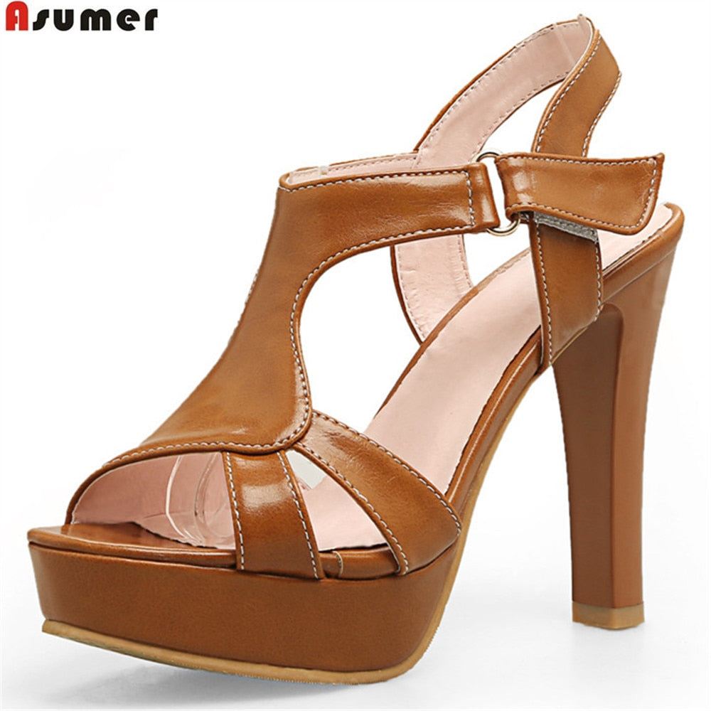 ASUMER black pink white peep toe buckle fashion summer ladies shoes super high prom shoes