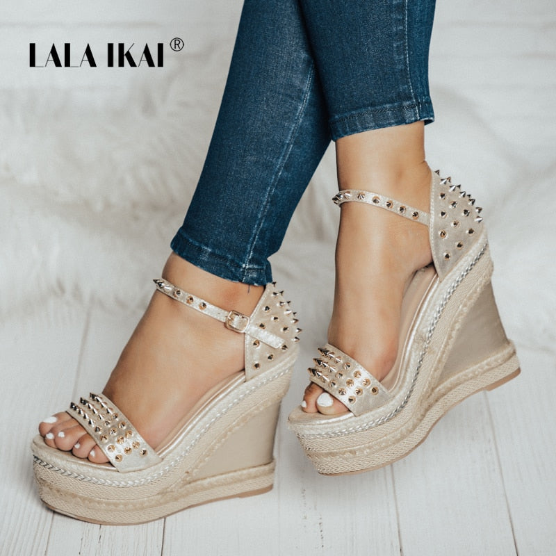 LALA IKAI Buckle Open Toe Wedge Sandals High-heeled Shoes