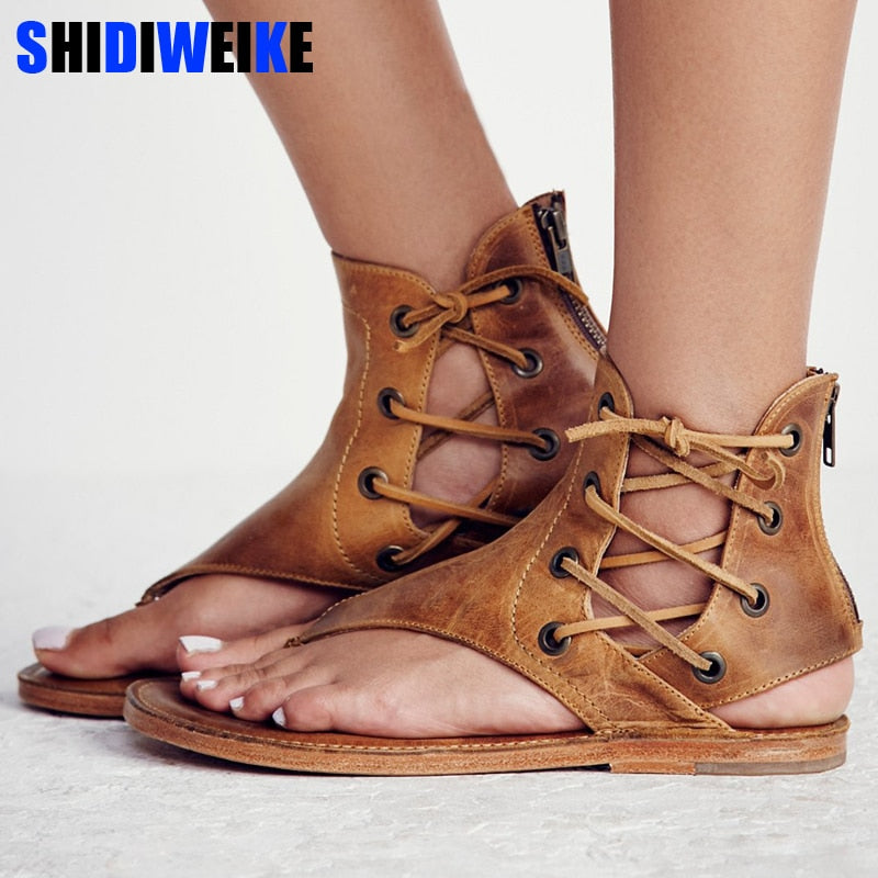 Women Sandals Vintage Summer Women Shoes Gladiator Sandals Flip-Flops For Women Beach Shoes Leather Flat Sandalias Mujer m908