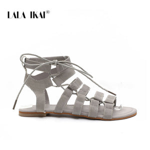 LALA IKAI Gladiator Sandals Ankle Strap Women Sandals Lace Up Woman Beach Flat Sandals Shoes
