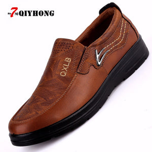 QIYHONG New  Men Casual Shoes Fashion Leather Shoes