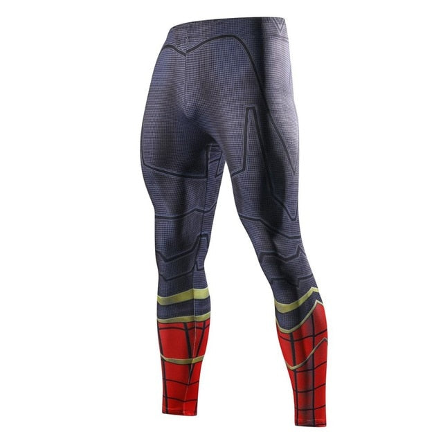 Men Skinny Compression Pants Superman Spiderman Iron Man Batman Leggings Sweatpants 3D Fitness Bodybuilding Elastic Trousers